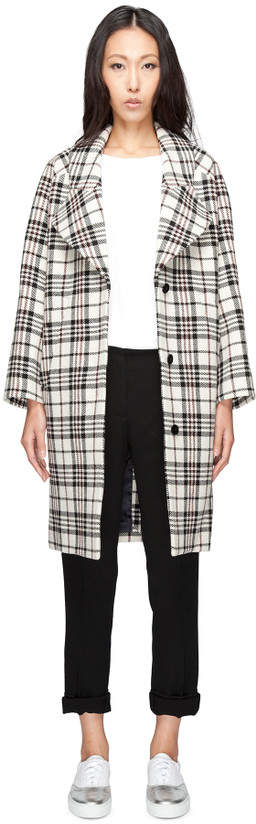 Carven Multicolor Manteau Drap Tartan Wool Coat