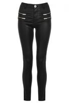 Quiz Black PU Zip Skinny Trousers