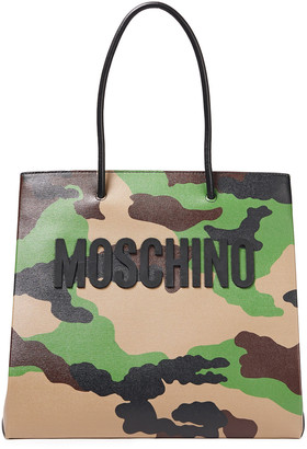 Moschino Appliqued Printed Textured-leather Tote