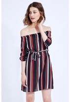 Select Fashion Fashion Multi Stripe Bardot Dress Dresses - size 6