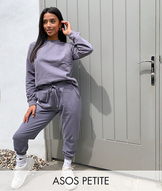 ASOS DESIGN Petite tracksuit ultimate sweat / jogger with tie in organic cotton in slate