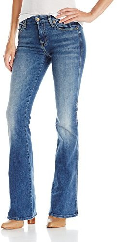 """7 For All Mankind Women's """"a"""" Pocket Jean with Distress in Authentic Medium Blue"""