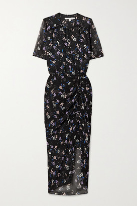 Veronica Beard Mariposa Ruched Floral-print Silk-crepon Midi Dress - Black