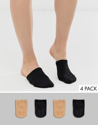 Gipsy mule 4 pack sock in black and beige