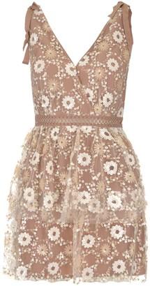 Self-Portrait Floral Sequins Mini Dress