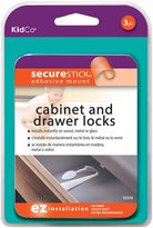 KidCo Adhesive Mount Cabinet/Drawer Lock - White - 3 ct
