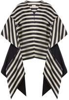 DELPOZO Collarless striped linen-blend faille coat