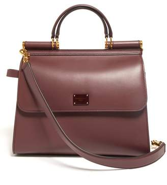 Dolce & Gabbana Sicily Large Leather Bag - Womens - Burgundy Multi
