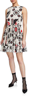 RED Valentino Printed Sleeveless Pleated Silk Crepe de Chine Dress