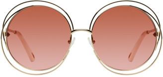 Chloé Gold and Pink Circular Spiralling Sunglasses