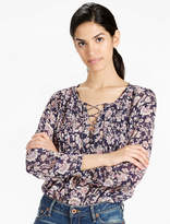 Lucky Brand Lace Up Peasant Top
