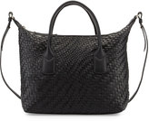 Cole Haan Lena Large Woven Leather Satchel Bag, Black