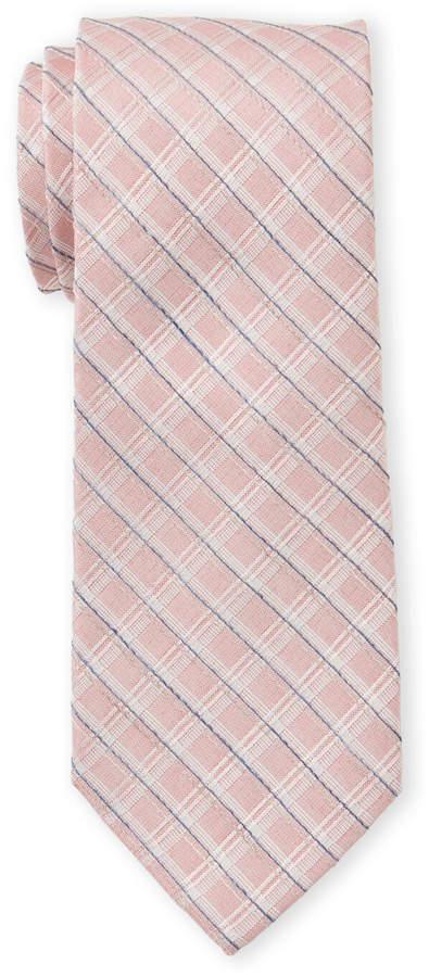Calvin Klein Coral Textured Check Tie