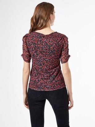 Dorothy Perkins Ditsy Mesh Ruched Sleeve T-shirt - Black
