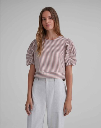 Club Monaco Cropped Ruffle Top