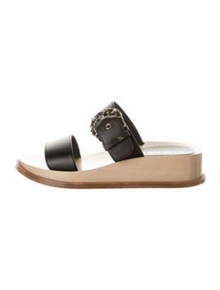 Chanel Chain-Link Accent Leather Slides Black