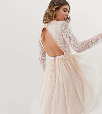Needle & Thread embellished long sleeve midi dress with tulle skirt in rose quartz-Pink