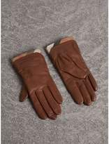 Burberry Check Trim Leather Touch Screen Gloves , Size: 8, Brown