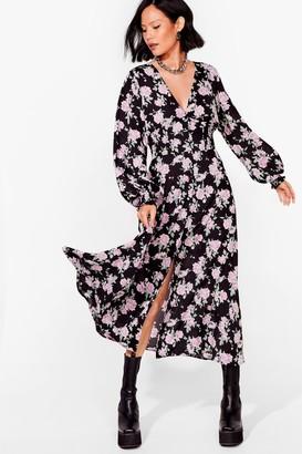Nasty Gal Womens Rose Print Maxi Dress - Black