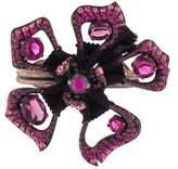 Lanvin Crystal & Fabric Flower Cuff