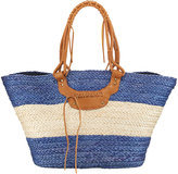 San Diego Hat Company Paperbraid Wide Striped Tote Bag, Blue
