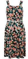 Dorothy Perkins Womens Black retro floral sundress- Black