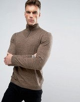 Asos Turtleneck Jumper With Zip In Navy And Tan Twist