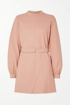Victoria Victoria Beckham Victoria, Victoria Beckham - Belted Twill Mini Dress - Blush