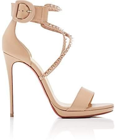 Christian Louboutin Women's Choca Lux Leather Platform Sandals - Nude, Pink bronze