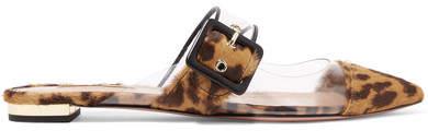 Aquazzura Seduction Pvc And Leopard-print Calf Hair Slippers - Leopard print