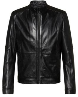 HUGO BOSS Slim Fit Jacket In Nappa Leather With Zipped Cuffs - Black