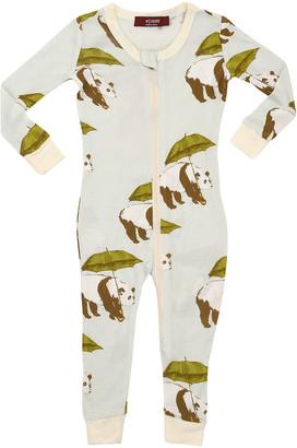 Milkbarn Girls' Rompers Blue - Blue & Green Umbrella Panda Long-Sleeve Playsuit - Toddler