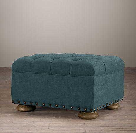 Restoration Hardware Churchill Upholstered Ottoman With Nailheads