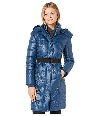 Andrew Marc Quilted Belted Down Puffer Coat