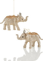 Holiday Lane Set of 2 Gold Glitter Elephant Ornaments, Created for Macy's