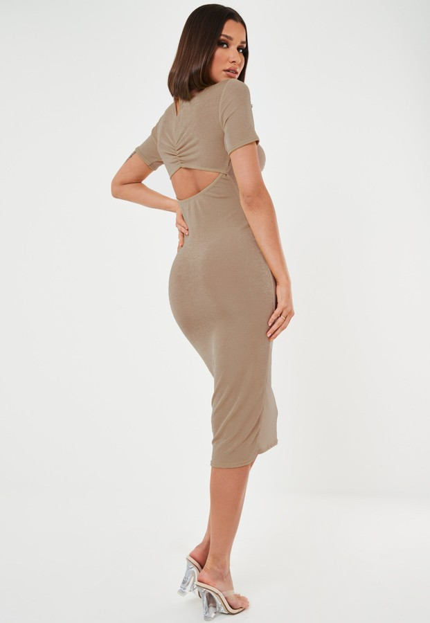 Missguided Stone Slinky High Neck Cut Out Midi Dress