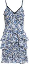 Victoria Victoria Beckham Victoria, Victoria Beckham Tiered Printed Crinkled-georgette Mini Dress