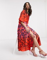 Liquorish ombre leopard print wrap midaxi dress in hot pink and red