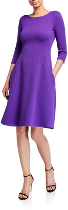 Emporio Armani Wave Jersey 3/4-Sleeve Full Skirt Dress