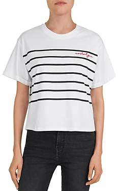 The Kooples Striped Nostalgic Embroidered Tee