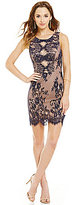 Jodi Kristopher Scalloped-Illusion-Inset-Bodice Lace Sheath Dress