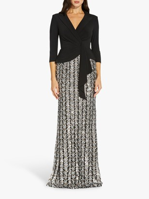 Adrianna Papell Chevron Embellished Maxi Gown, Bronze