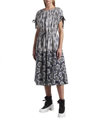 Moncler Self-Tie Floral A-Line Dress