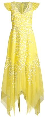 BCBGMAXAZRIA Embroidered Tulle Ruffle Dress