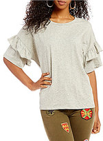 Miss Me Tiered-Ruffle-Sleeve Knit Top