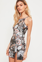 Missguided Petite Exclusive Grey Scuba Floral Print Dress
