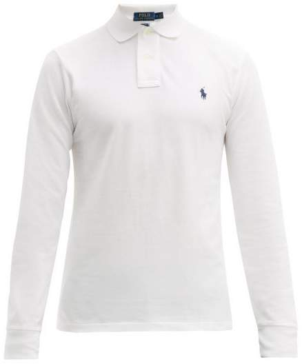 Polo Ralph Lauren Long Sleeve Slim Fit Cotton Polo Shirt - Mens - White