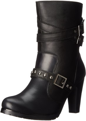 """AdTec Women's 10"""" Three Buckle Boot Black-w Motorcycle Numeric_6_Point_5"""