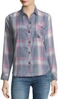 Rails Hunter Button-Front Long-Sleeve Plaid Shirt, Storm Pink Cloud Wash