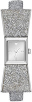 Kate Spade Women's Kenmare Swarovski® Crystal White Leather, Fabric & Stainless Steel Bow-Tie Strap Watch 20mm KSW1184